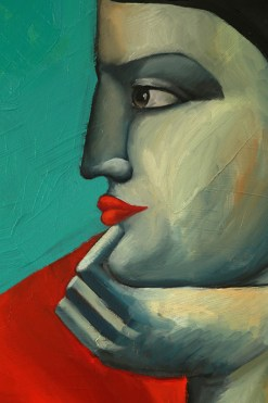 Reclining Woman in Red by Yuroz detail