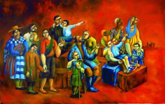 Respect the Refugees Yuroz painting