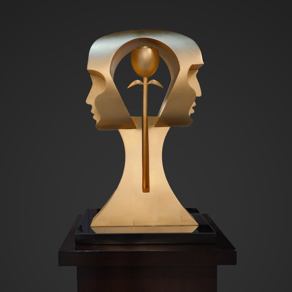 eternity sculpture by Yuroz in bronze with 23k gold leaf finish
