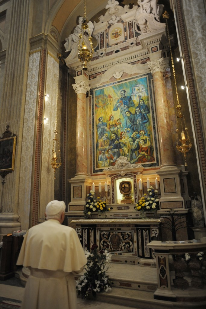 Light of Compassion by Yuroz, blessed by Pope Benedict XVI praying alone in picture is permanently hung amongst Renaissance masters' work in the Botticino Serra Church