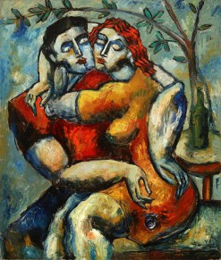 "Lovers Under the Tree by Yuroz, Romantic Impasto Collection, Oil on Canvas 55"" x 45"" (139.7 cm x 114.3 cm) (c) Yuroz, courtesy Moso Art Gallery"