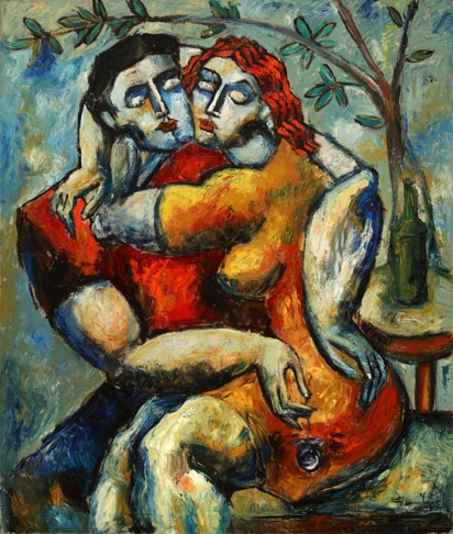 """Lovers Under the Tree by Yuroz, Romantic Impasto Collection, Oil on Canvas 55"""" x 45"""" (139.7 cm x 114.3 cm) (c) Yuroz, courtesy Moso Art Gallery"""