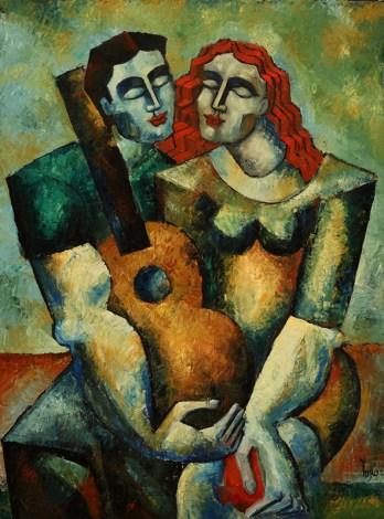 "6502 Dreamers with Guitar & Pomm (study) , original oil on canvas by Yuroz, 40"" x 30"" (102 cm x 76 cm)"