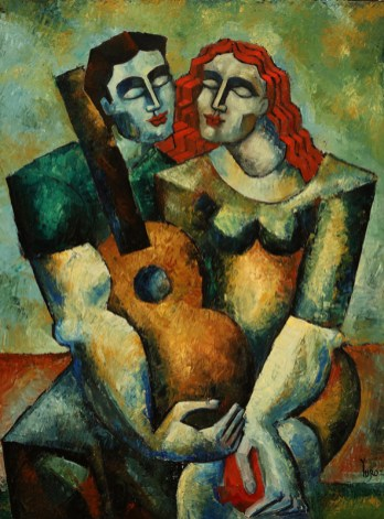 "6502 Dreamers with Guitar & Pomm (study) , original oil on canvas by Yuroz, 40"" x 30"" (102 cm x 76 cm)"