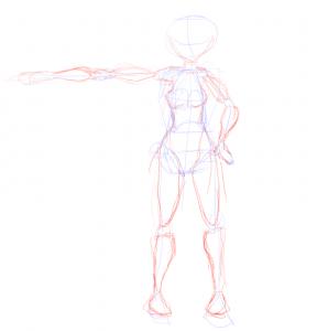 Esqueleto con músculos de mujer