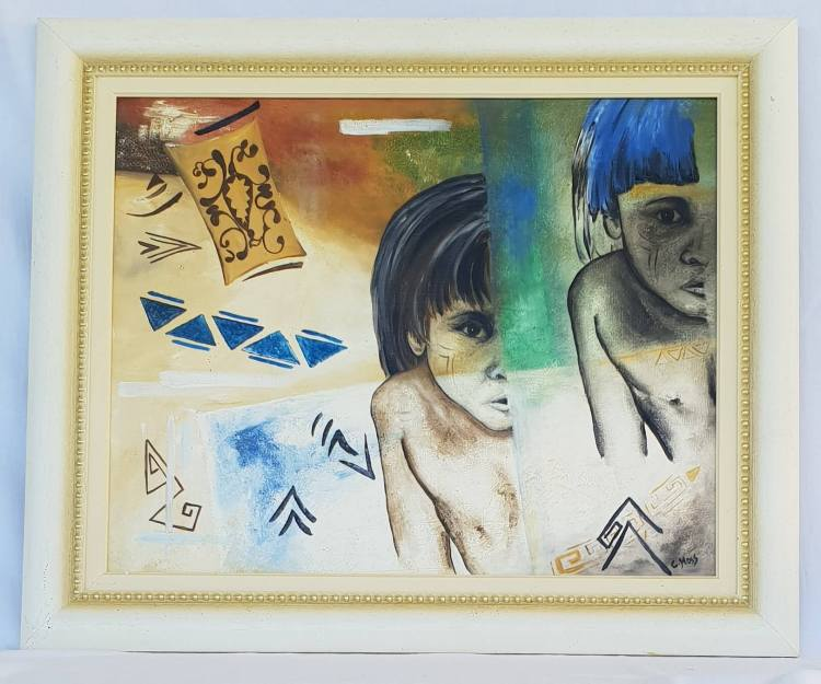 two amazonian indian boys with blue hair and indian symbols