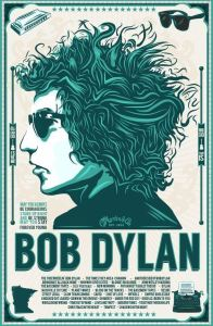 Bob Dylan poster with duotone factor of superimposition