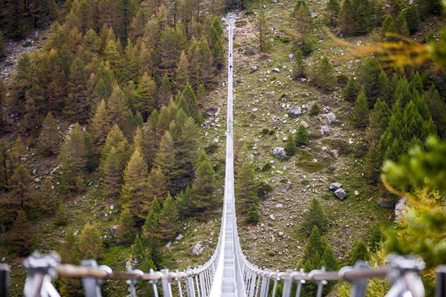 The world's longest pedestrian suspension bridge in Switzerland