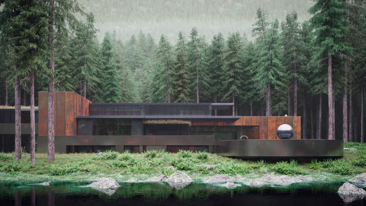 ukrainian forest house moss and fog 1