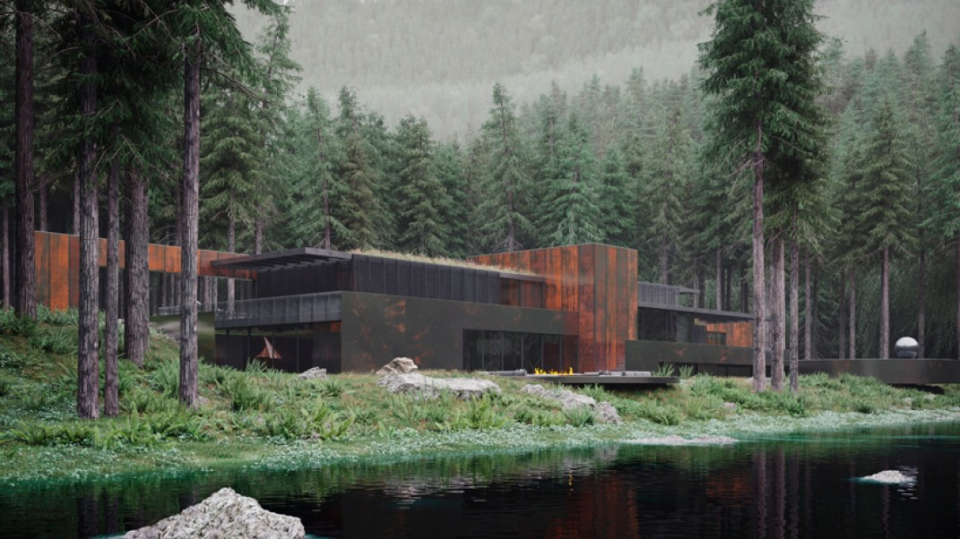 Corten steel home deep in the Ukrainian forest.