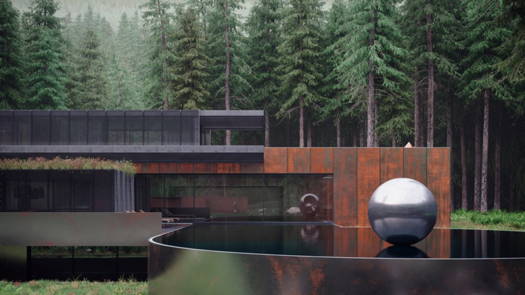 Corten steel home deep in the Ukrainian forest.