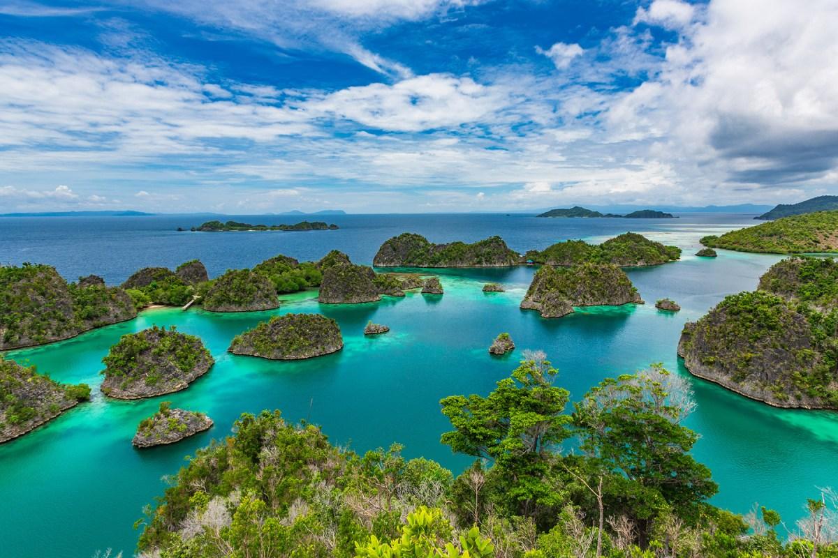 Pianemo Islands, Blue Lagoon with Green Rockes, Raja Ampat, West