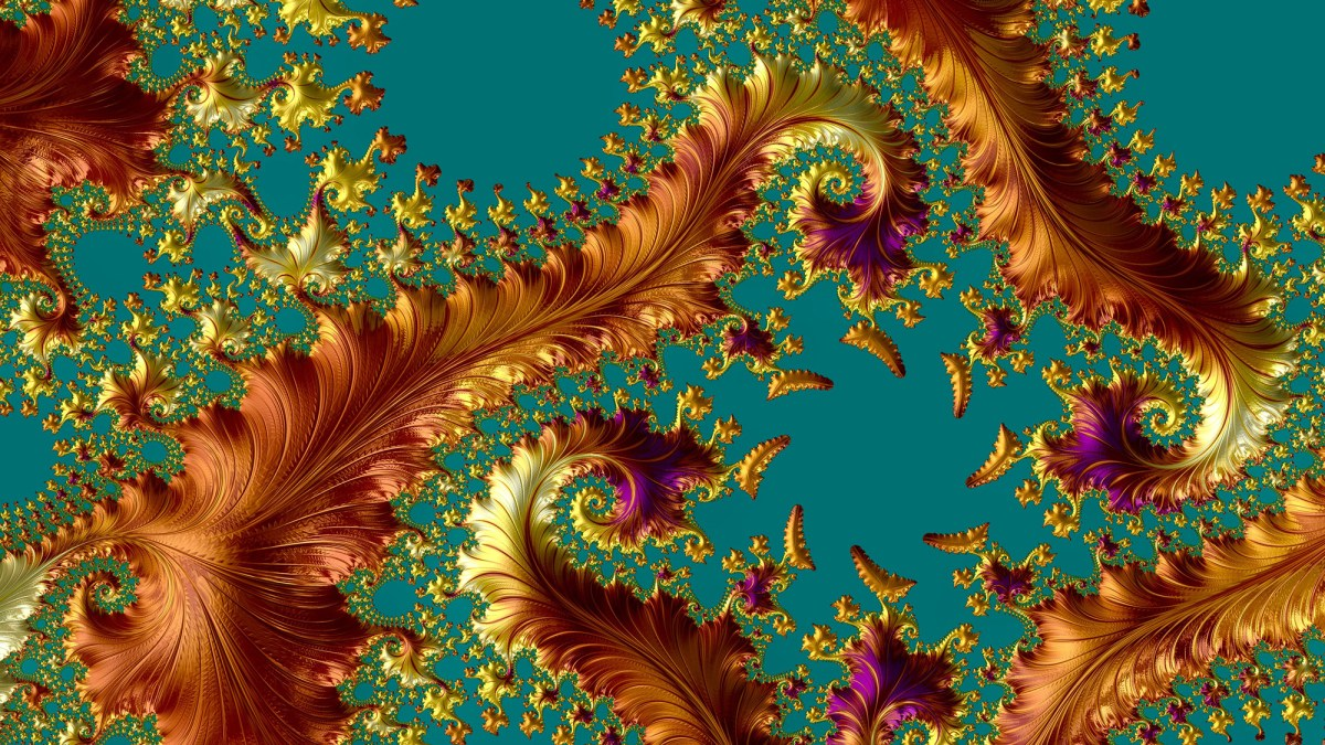 An abstract computer generated fractal design. A fractal is a ne