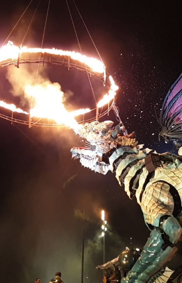 Fire breathing dragon in Calais France