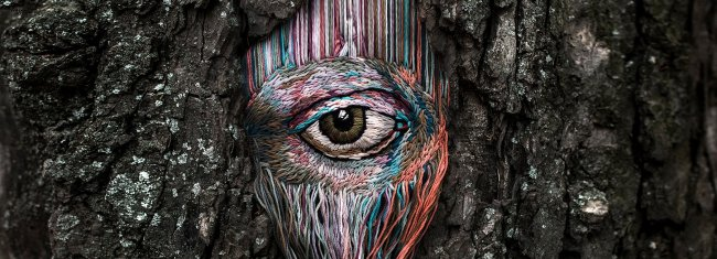 embroidered art on tree scars