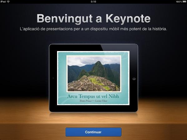 Keynote per iOS en català