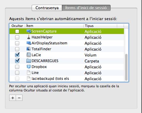 Automuntage de disc - preferències del sistema