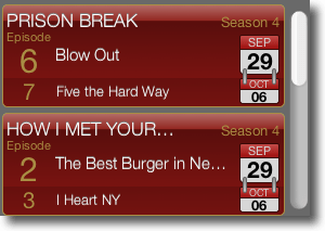 TV show tracker widget