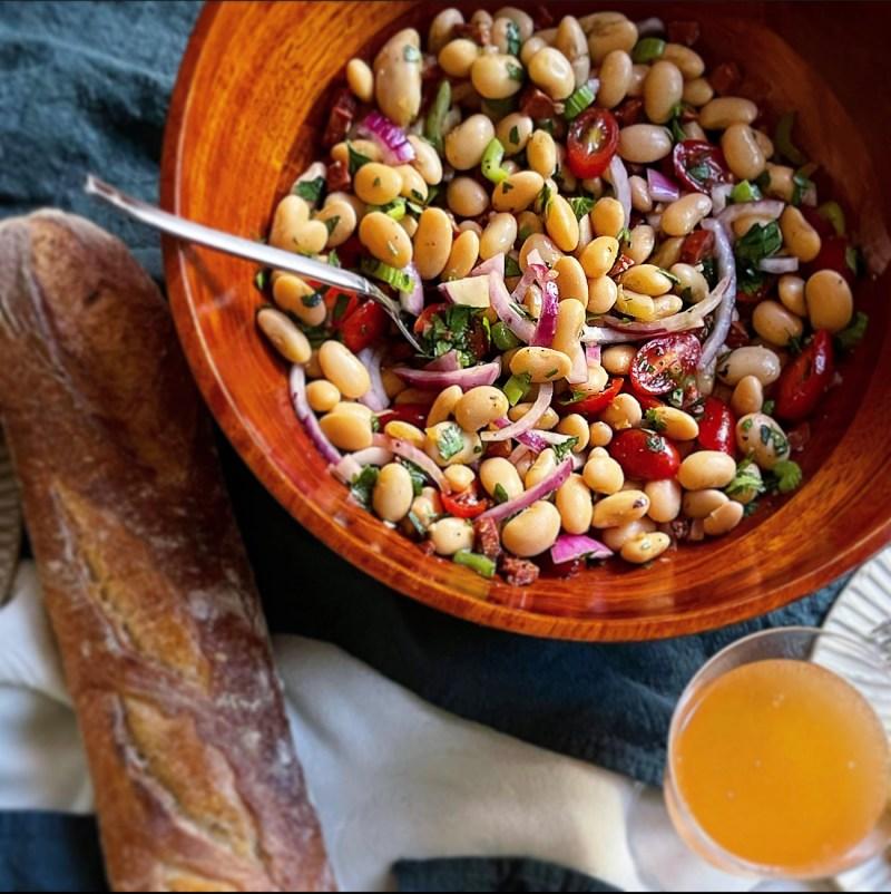 bean salad with chorizo vinaigrette