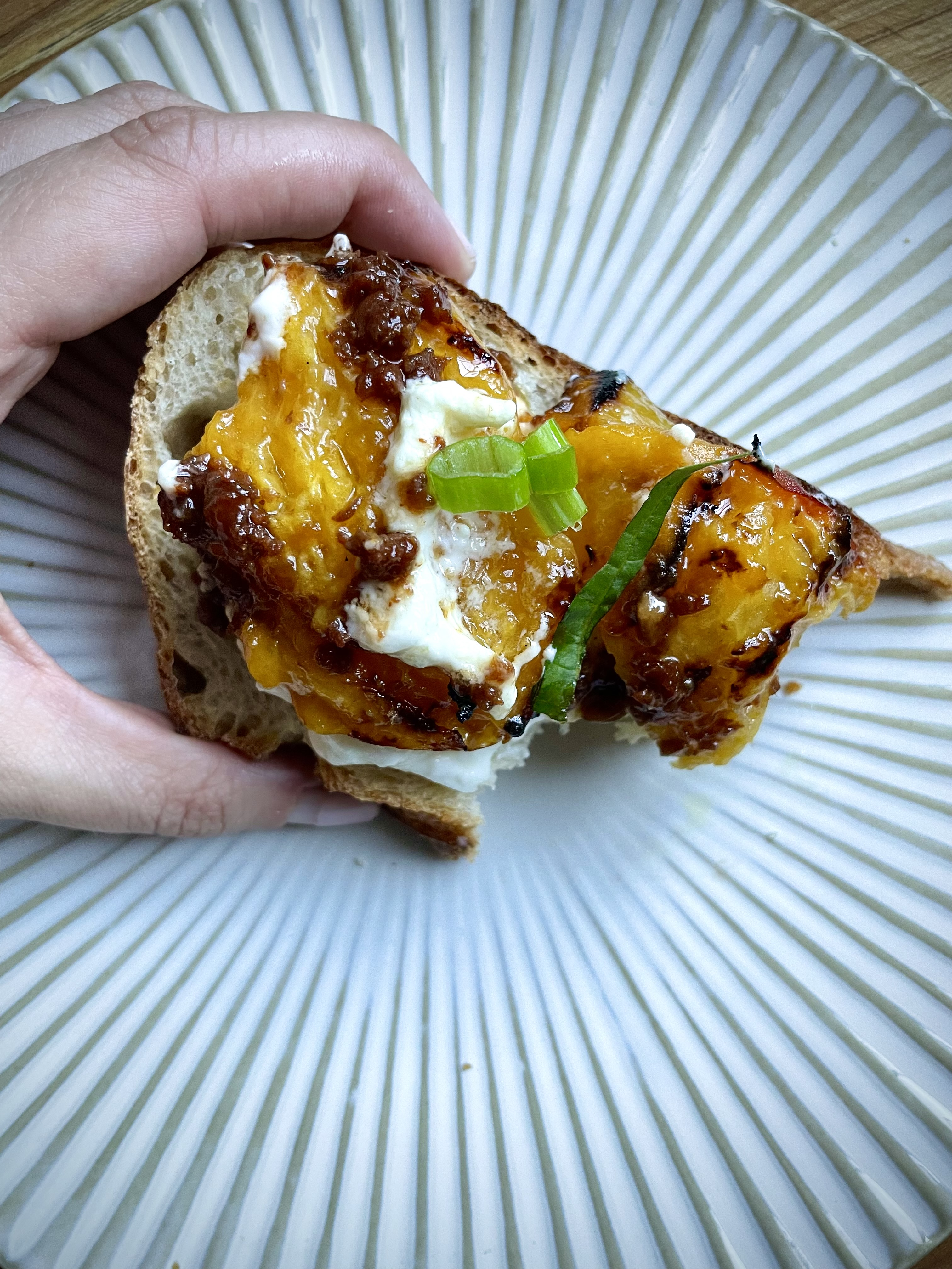 grilled peaches on bread
