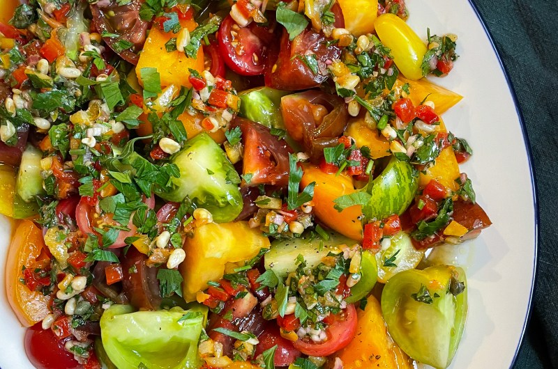 Tomatoes with Preserved Lemon and Pepper Relish