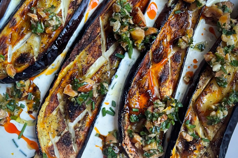Roasted Eggplants with Tahini Ranch and Hazelnut Gremolata