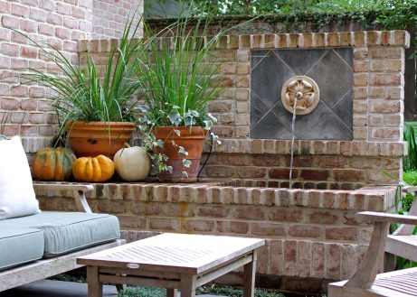 Backyard fountain.