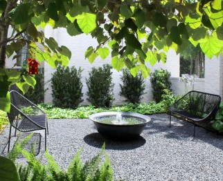 Gorgeous peek into this serene fountain garden we designed and installed in Bunker Hill. Our landscape designer, Brian Lokey, led this project and we are glad to be maintaining the property as it grows in! The fountain featured is an antique sugar kettle. They were originally used in the 19th-century to boil sugar cane and produce sugar. Over time, they were no longer needed for cooking and the antique kettles have found their way into our gardens! 😊👏🏼