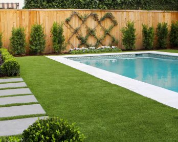 Pool view and diamond pattern trellis.