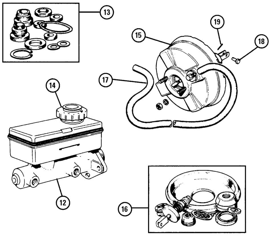 Brake Master Cylinder & Direct Acting Servo (1988-on