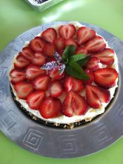 mmmm....strawberry cheesecake, just one of the treats at the village-in-the-city fete