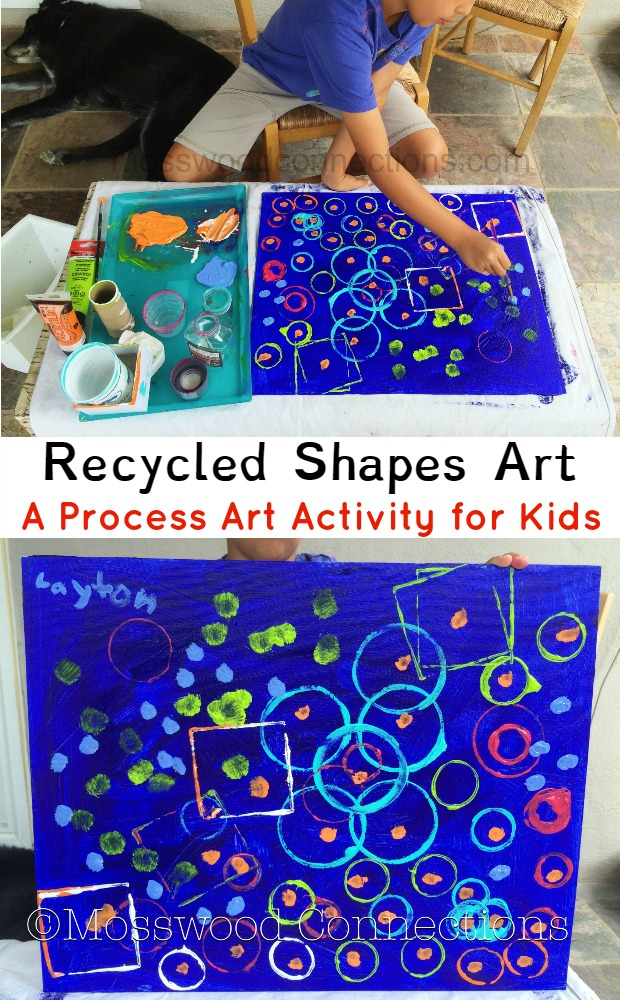 Recycled Shapes Art; A Process Art Activity for Kids; Recycled Shapes Process Art Project