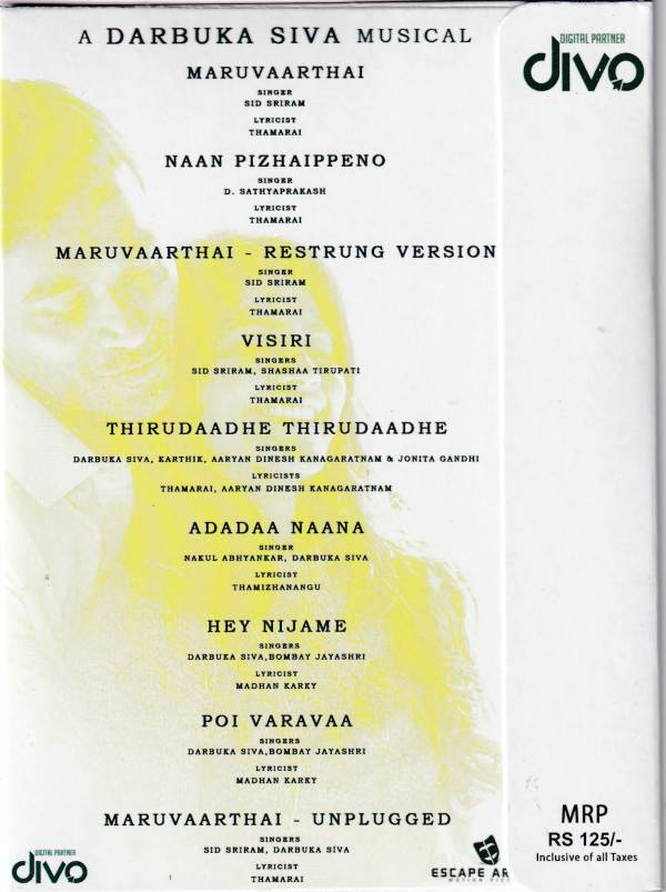 Enai Noki Paayum Thota Tamil Audio CD by Darbuka Siva - www.mossymart.com