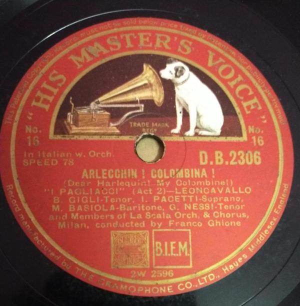 Arlecchin Colombina 78 RPM Record by Franco Ghione DB 2306 www.mossymart.com