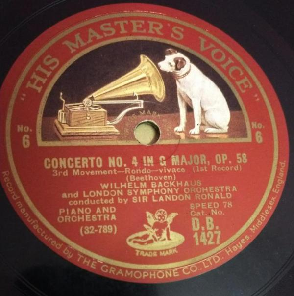 Concerto no 4 in G Major Beethoven 78 RPM Record by Sir Landon Ronald D B 1427 www.mossymart.com