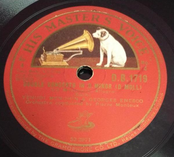 Double Concerto In D Minor 78 RPM record D B 1719 www.mossymart.com