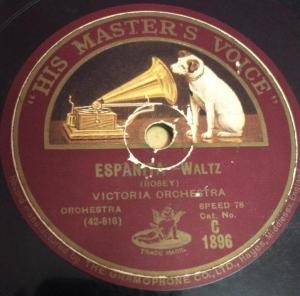 La Serenata Waltz 78 RPM Record by Victoria Orchestra C 1896 www.mossymart.com