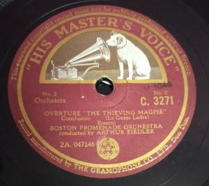 Overture the Thieving Magpie 78 RPM Record by Arthur Fielder C 3271 www.mossymart.com