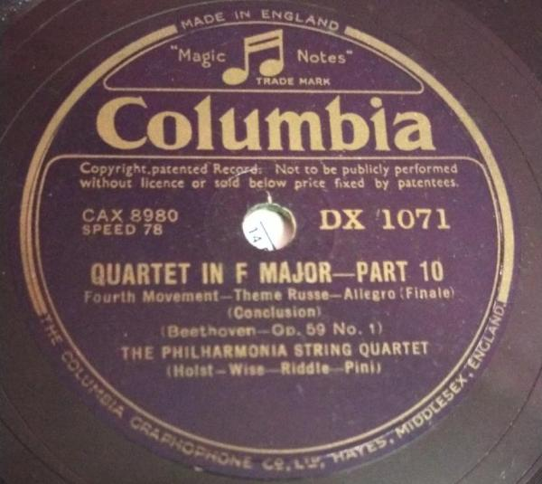 Quartet in F Major Part 10 78 RPM Record By Beethoven DX 1071 www.mossymart.com