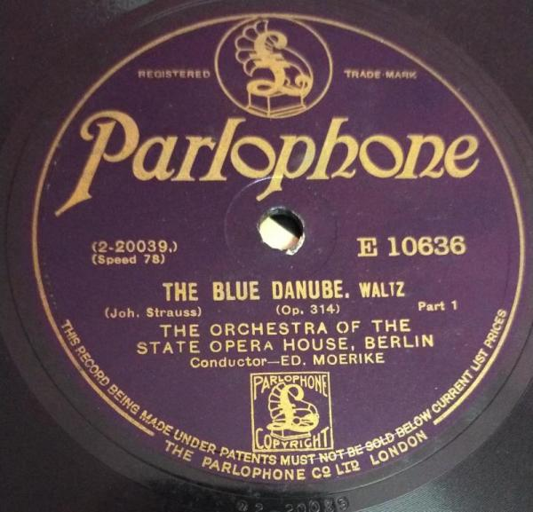 The Blue Danube, Waltz The Orchestra of the State opera House 78 RPM Record www.mossymart.com