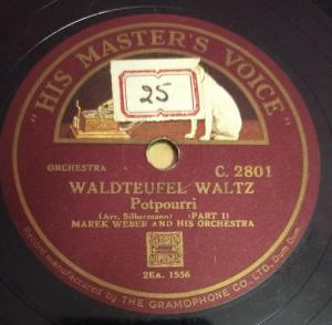 Waldteufel Waltz 78 RPM Record by Marek Weber and his Orchestra C 2801 www.mossymart.com