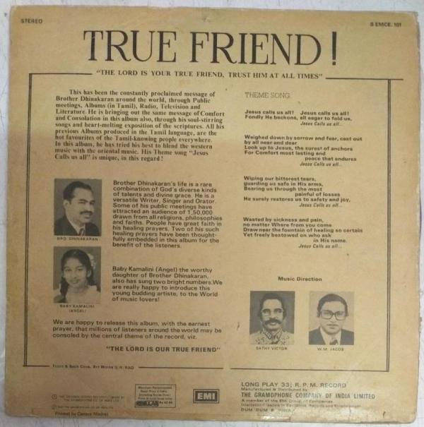 True Friend Christian Devotional LP Vinyl Record by Bro Dhinakaran www.mossymart.com
