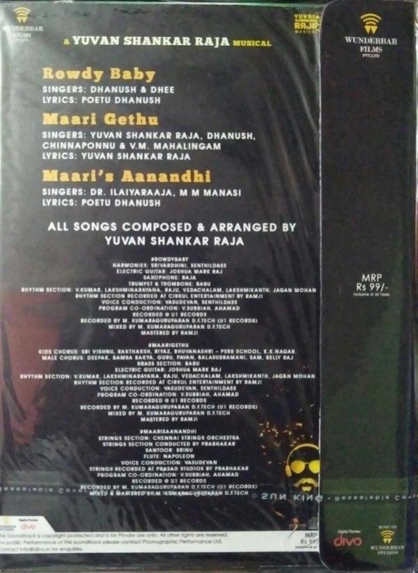 Maari Tamil FIlm Audio CD by Yuvan Shankar Raja www.mossymart.com