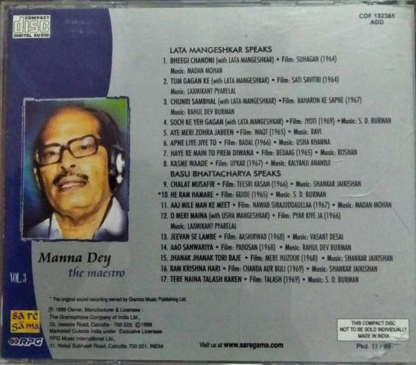 Legends Hindi Film hits Audio CD by Manna Day Vol 3 www.mossymart.com 1