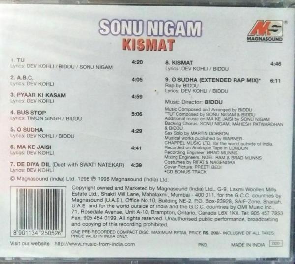 Somu Nigam Kismat HIndi FIlm Audio CD www.mossymart.com 1