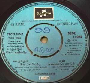 Yaarukkum Vetkkamillai Tamil Film EP Vinyl Record by G K Venkatesh www.mossymart.com