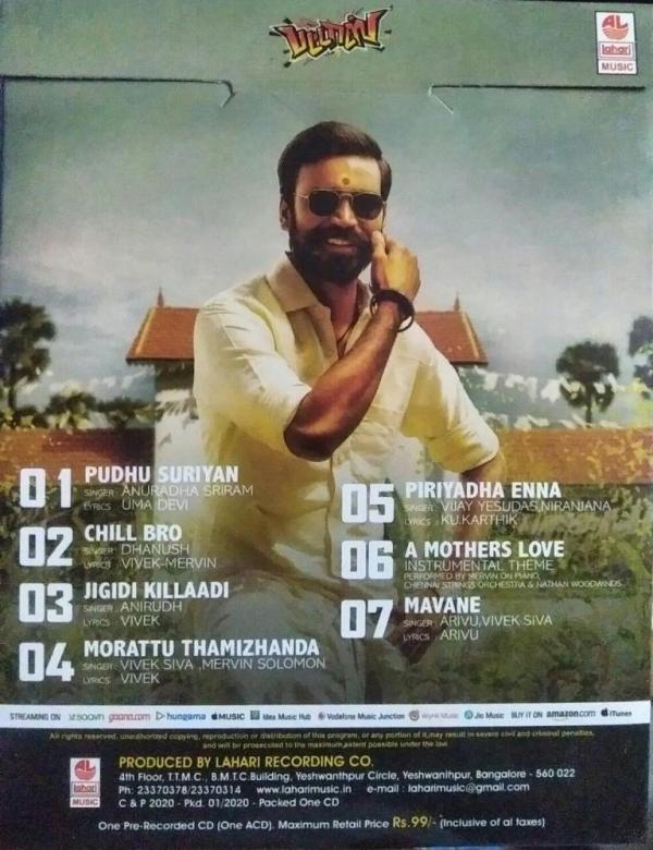 Pattaas Tamil Audio CD by Vivek Mervin www.mossymart.com 1