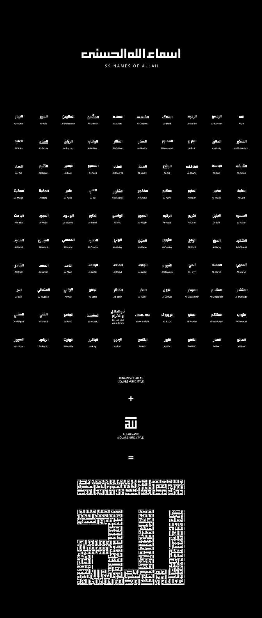 Names of Allah Kufi Style