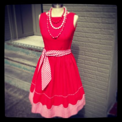 50's red and white dress