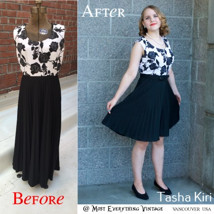 Black and White 70's floral dress, waist 28 in. $35